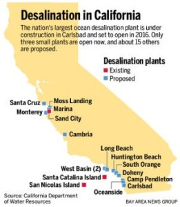 Map of California showing existing and proposed desalination plants.