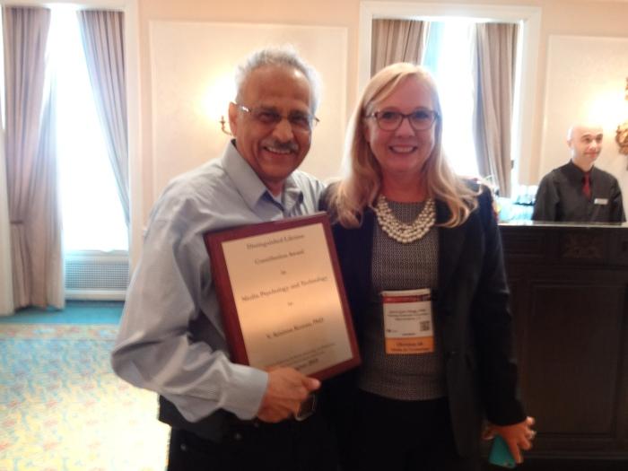 V. Krishna Kumar receiving the APA Division 46's 2015 Distinguished Lifetime Contribution Award in Media Psychology and Technology. Photo Credit: Courtesy: Debbie Joffe Ellis