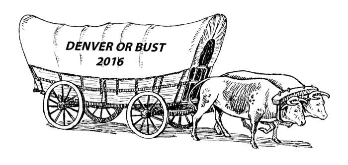 "Conestoga wagon pulled by two oxen; wagon has words ""Denver or Bust 2016"" on the side."