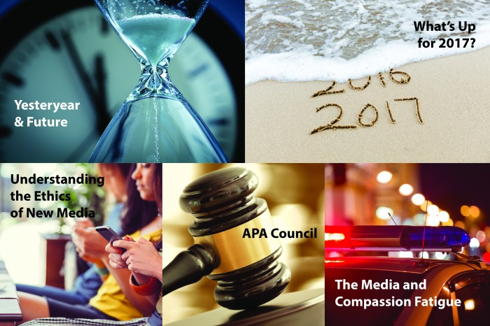 collage of hourglass, beach with 2016 and 2017 written in sand, women texting on cellphones, gavel, and police car with red light flashing