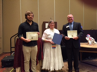 President Recognizing Keith Mispagel (right) and Matthew Dixon for presenting and supporting, respectively, Division 46 2016 Presidential Invited Address on Robotics and T.E.A.M.S. (Technology + Engineering + Arts + Mathematics + Science) Education