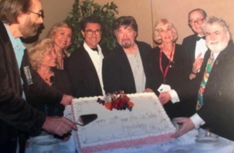 Happy Birthday Division 46 @ 13 years ago. From Left to Right: Frank Farley, Florrie Kaslow, Lillian Friedland, Larry Balter, Stuart Fischoff, Irene Deitch, President Charles Spielberger, Alan D Entin. Photo taken in 2007; Courtesy: Alan Entin